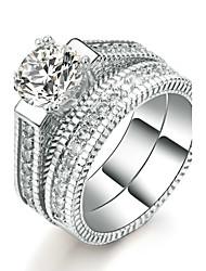 Damen Ring Kubikzirkonia Elegant Doppelschicht Luxus-Schmuck Platin Kubikzirkonia Runde Form Schmuck FürHochzeit Party / Abend Verlobung