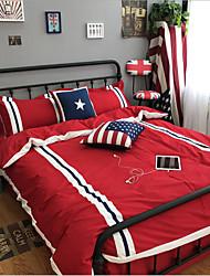 Bandeiras 4 Peças Pano de Algodão Fabrico à Máquina Pano de Algodão 1pç  Capa de Edredon 1pç de Leçol Raso