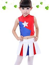 Costumes de Pom-Pom Girl Tenue Enfant Spectacle Polyester Fantaisie Bloc de Couleur 2 Pièces Sans manche Taille haute Jupes Hauts