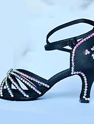 "Women's Latin Polyamide fabric Sandals Indoor Rhinestones Black 2"" - 2 3/4"" Customizable"