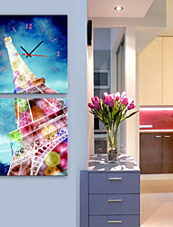 E-HOME® Gorgeous Eiffel Tower Clock in Canvas 2pcs