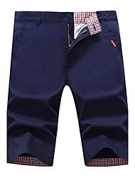 Masculino Simples Cintura Média Inelástico Chinos Shorts Calças,Reto Sólido