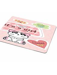 Dob tapete do rato rosa bonito do gato tecido de borracha 21.5 * 18 tapete de rato pintado