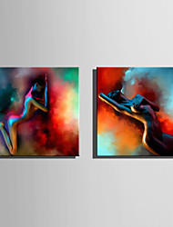 E-HOME Stretched Canvas Art Women In Colorful Smoke  Decoration Painting One Pcs