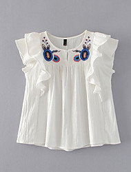 Damen Stickerei Einfach Alltag Normal T-shirt,Rundhalsausschnitt Ärmellos Baumwollmischung
