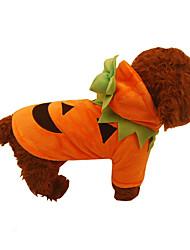 Собака Костюмы Одежда для собак Косплей Хэллоуин Сплошной цвет Оранжевый