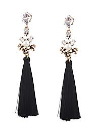 Fashion Women Vintage Pearl Stone Set Tassel Drop Earrings