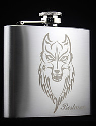 Personalized Stainless Steel  5-oz   Flask  Wolf  Hip Flask