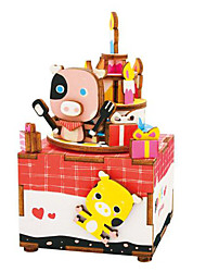 Jigsaw Puzzles DIY KIT Wooden Puzzles Building Blocks DIY Toys Pig Cartoon Wooden Composite