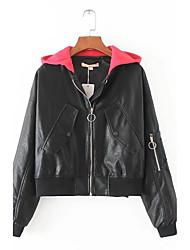 Veste de cuir Femme,Couleur Pleine Sports Sortie simple Chic de Rue Punk & Gothique Printemps Automne Manches longues Capuche Normal Cuir