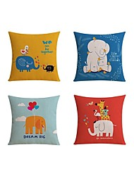 4 pcs Linen Pillow case Bed Pillow Body Pillow Travel Pillow Sofa Cushion Pillow Cover,Pattern Wildlife Graphic PrintsCasual Cartoon