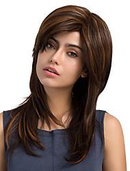 Mature Woman Mixed Color Natural Long Straight Hair Synthetic Wig