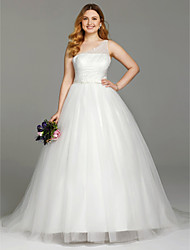 2017 LAN TING BRIDE Plus Size Ball Gown Wedding Dress - Simply Sublime Open Back Court Train One Shoulder Tulle withBeading Bow(s)