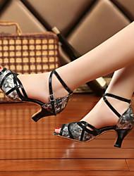 Damen Tanz-Turnschuh PU Sandalen Sneakers Innen Blockabsatz Gold Grau Rot 5 - 6,8 cm