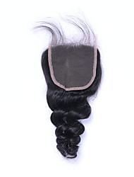 100% non transformé grade 7a noir naturel bouche lisse brésilienne vierge fermeture à cheveux humain libre / moyen / 3 partie 4x4