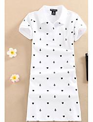 Damen Stickerei Niedlich Normal T-shirt,Rundhalsausschnitt Kurzarm Baumwolle