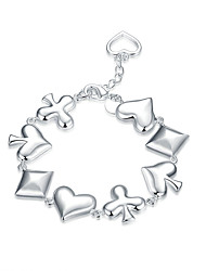 Exquisite Silver Plated Poker Suit Style Chain & Link Bracelets Jewellery for Women Accessiories