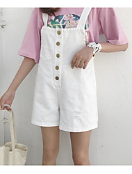 Women's High Waist Inelastic Shorts Overalls Pants,Simple Relaxed Solid