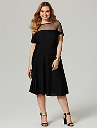 2017 TS Couture Plus Size Cocktail Party Dress - Little Black Dress See Through A-line Bateau Knee Length Jersey with Pleats