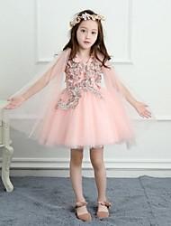 a-line короткое / мини платье девушки цветка - атласная сетка без рукавов v шея с аппликацией yiranmei