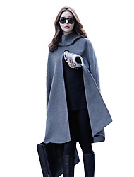 Women's Outdoor clothing Nature Inspired Spring/Fall Cloak/Capes,Solid Hooded Half-Sleeve Regular Imitation Cashmere