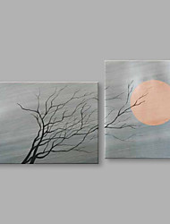 IARTS®Hand Painted Abstract Oil Painting Moon & Withered Tree Landscape Set of 2 with Stretched Frame Handmade For Home Decoration Ready To Hang