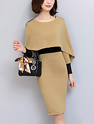 Women's Party Work Sexy Simple Bodycon Dress Patchwork Round Neck Knee-length Long Sleeve False Two Khaki Spring Fall Mid Rise