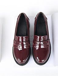 Damen Schuhe PU Frühling Komfort Loafers & Slip-Ons Blockabsatz Keilabsatz Stöckelabsatz Mit Für Normal Schwarz Burgund