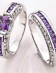 Ring Settings Ring  2 Pcs Luxury Elegant Noble Zircon Geometri  Women's  Rhinestone Euramerican Fashion Birthday Wedding Movie Gift Jewelry