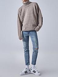 Standard Pullover Da uomo-Casual Semplice Tinta unita Girocollo Manica lunga Lana Autunno Inverno Spesso Media elasticità