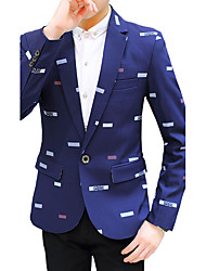 Для мужчин На каждый день Осень Все сезоны Блейзер V-образный вырез,Простой Активный Уличный стиль Однотонный Дамаск Мода ОбычнаяДлинный