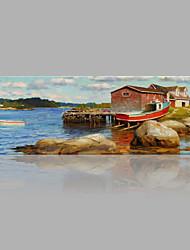 Peint à la main Abstrait Format Horizontal,Contemporain Abstrait Un Panneau Toile Peinture à l'huile Hang-peint For Décoration d'intérieur