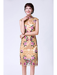 Feminino Tubinho Bainha Vestido,Festa Feriado Sensual Vintage Temática Asiática Flor Colarinho Chinês Altura dos Joelhos Sem Manga