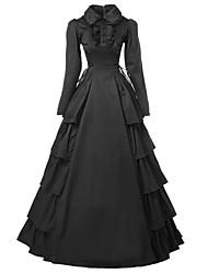 Une Pièce/Robes Gothique Victorien Cosplay Vêtrements Lolita Couleur Pleine Manches Longues Long Collant Pour Satin Coton