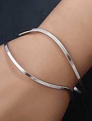 Women's Bangles Cuff Bracelet Handmade Fashion Hip-Hop Stretch Rock Metal Alloy Gold Plated Metallic Geometric Irregular Jewelry For