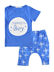 Boys' Sets Cotton Summer Short Sleeve Clothing Set Nanny's Boy Letter Print Kids Boys 2pcs Outfits