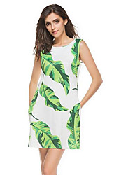 Women's Casual/Daily A Line Dress,Solid Round Neck Above Knee Short Sleeves Polyester Summer Low Rise Inelastic Thin