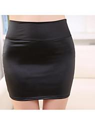 Mujer Trabajo Noche Casual/Diario Mini Faldas,Corte Bodycon Primavera Verano Un Color