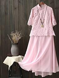Для женщин Праздники На выход На каждый день Весна Осень Блузка Юбки Костюмы Вырез под горло,Простой Очаровательный Активный Однотонный