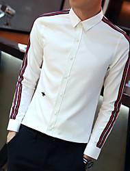 Для мужчин На выход На каждый день Офис Рубашка Рубашечный воротник,Секси Простое Уличный стиль Однотонный Контрастных цветов Длинный