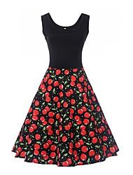 Feminino Bainha balanço Vestido,Trabalho Feriado Casual Vintage Simples Floral Decote Redondo Altura dos Joelhos Sem Manga Algodão