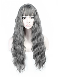Hot Selling Grey Color Long Natural Wave Women Wigs Heat Resisting Cospaly Syntheitc Wigs