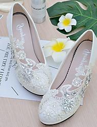 Mujer Zapatos de boda Talón Descubierto Encaje Semicuero Primavera Otoño Boda Vestido Fiesta y NochePedrería Aplique Perla de Imitación