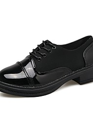 Women's Oxfords Comfort PU Summer Casual Lace-up Low Heel Black White Under 1in