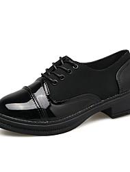 Damen Outdoor Komfort Sommer PU Normal Schnürsenkel Niedriger Absatz Weiß Schwarz Unter 2,5 cm
