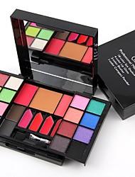 2 Coloretes Polvo Compacto+Sombras de Ojos Lápices de Cejas+Brillos de Labios+Espejo Copitos de Algodón Pinceles de Maquillaje Brillo