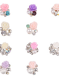 10PCS Pinpai The New Japanese Flower Resin Polymer Clay Flower Nail Drill Nail Accessories Nail Stickers Drill Nail Art Decoration Rhinestone Pearls