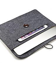 Fivela de madeira sentiu o saco do tablet pc alinhado com forro de cobertura 15 polegadas