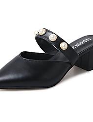 Для женщин Сандалии Для прогулок Удобная обувь Полиуретан Лето Повседневные Жемчуг На низком каблуке Черный Бежевый Цвет экрана 4,5 - 7 см