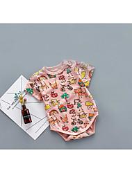 Une-Pièce bébé Rayure Dessin-Animé Motif Animal Coton Eté Manches Courtes